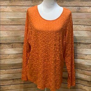 Orange lace long sleeve top